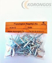 Nagyfejű alumínium popszegecs 4,0x12mm 30db-os csomagban