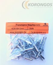 Nagyfejű alumínium popszegecs 4,0x16mm 30db-os csomagban