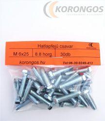 Hatlapfejű csavar M  6X25 30db-os csomagban