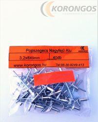 Nagyfejű alumínium popszegecs 3,2x8mm 40db-os csomagban