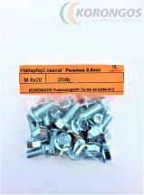 Hatlapfejű peremes csavar M8x20  20db-os csomagban